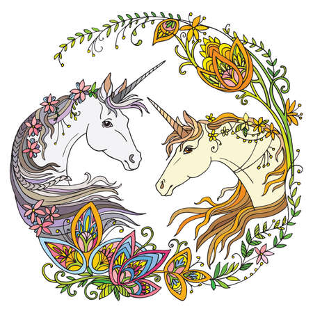 Vector portrait of unicorns with flowers in circle composition.Coloring book pages for adults and kids.Tangle Illustration. Boho. For T Shirt, stickers, design and tattoo. 向量圖像