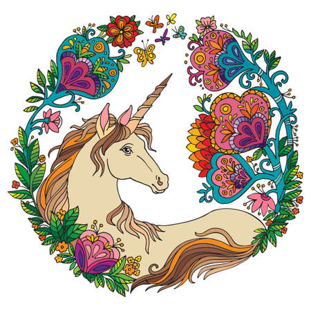 Vector portrait of unicorn with flowers in circle composition.Coloring book pages for adults and kids.Tangle Illustration. Boho. For T Shirt, stickers, design and tattoo.