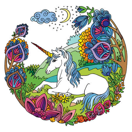 Vector beauty unicorn with flowers in circle composition.Colorful ornamental illustration isolated on white. Tangle Illustration. Boho. For T Shirt, stickers, design and tattoo.
