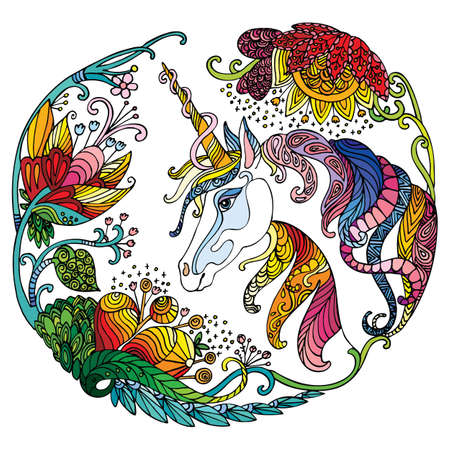 Vector beautiful unicorn with flowers in circle composition. Colorful ornamental illustration isolated on white background.For T Shirt, stickers, design and tattoo. 向量圖像