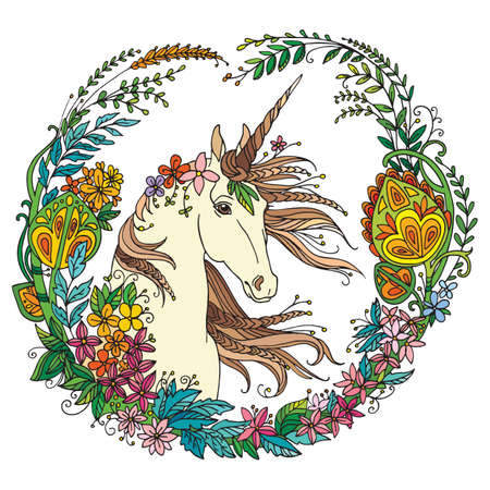 Vector portrait of unicorn with fantasy flowers in circle composition.Coloring book pages for adults and kids.Tangle Illustration. Boho. For T Shirt, stickers, design and tattoo.
