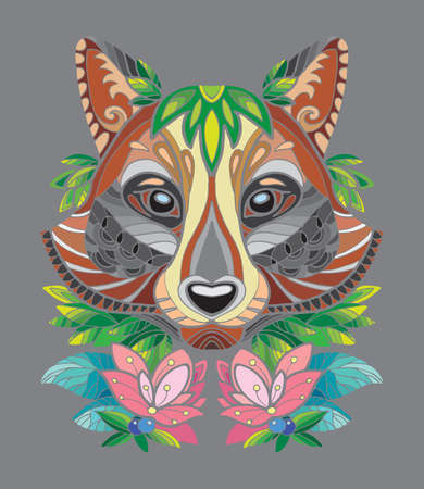 Vector colorful ornamental portrait of racoon. Decorative abstract symmetric illustration isolated on gray background. Stock illustration for adult coloring, T Shirt, design, print, decoration and tattoo.