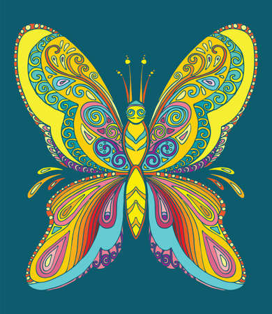 Butterfly coloring book for adults vector illustration isolated on turquoise. Anti-stress coloring. Tangle style. For adult coloring, T Shirt, design, print. 向量圖像