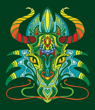 Dragon coloring book for adults vector illustration isolated on green. Anti-stress coloring. Tangle style. For adult coloring, T Shirt, design, print.