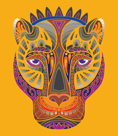 Colorful ornamental fantasy pantera. Vector abstract symmetric illustration isolated on orange. Anti-stress coloring. Tangle style. For adult coloring, T Shirt, design, print, decoration and tattoo.