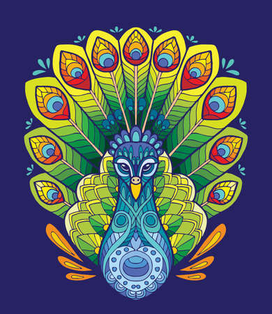 Vector colorful ornamental portrait of peacock. Decorative abstract symmetric illustration isolated on blue background. Stock illustration for adult coloring, T Shirt, design, print, decoration and tattoo.
