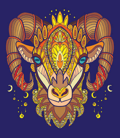 Vector colorful ornamental portrait of sheep. Decorative abstract symmetric illustration isolated on blue background. Stock illustration for adult coloring, T Shirt, design, print, decoration and tattoo. 向量圖像