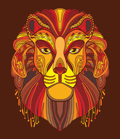 Lion coloring book for adults vector illustration isolated on red. Anti-stress coloring. Tangle style. For adult coloring, T Shirt, design, print.