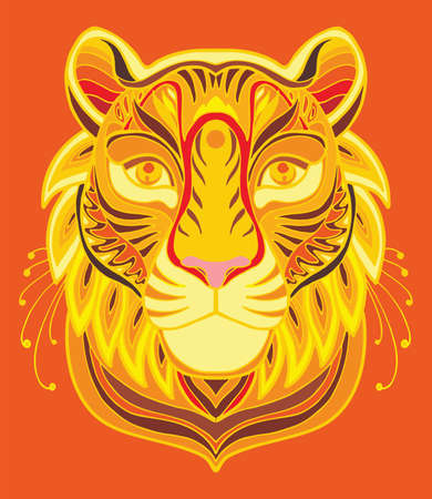 Vector colorful ornamental portrait of tiger. Decorative abstract symmetric illustration isolated on red background. Stock illustration for adult coloring, T Shirt, design, print, decoration and tattoo.