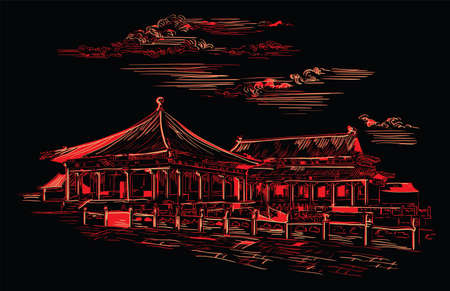 Lingxing Gates in front of the Temple of Heaven in Beijing, landmark of China. Hand drawn vector sketch illustration in monochrome colors isolated on black background. China travel Concept.