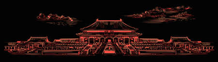 Lingxing Gates in front of the Temple of Heaven in Beijing, landmark of China. Hand drawn vector sketch illustration in monochrome colors isolated on black background. China travel Concept. Archivio Fotografico - 154209155