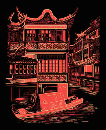 Lingxing Gates in front of the Temple of Heaven in Beijing, landmark of China. Hand drawn vector sketch illustration in monochrome colors isolated on black background. China travel Concept. 向量圖像