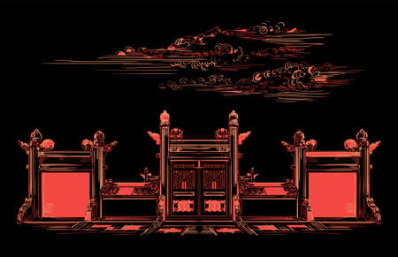 Lingxing Gates in front of the Temple of Heaven in Beijing, landmark of China. Hand drawn vector sketch illustration in monochrome colors isolated on black background. China travel Concept. Archivio Fotografico - 154209162
