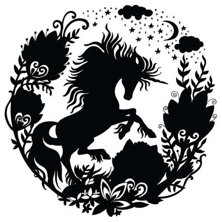 Vector template unicorn with galaxy flowers and trees in circle composition. Black silhouette template illustration isolated on white background. For print, stickers, design, weather vane, application and tattoo. Archivio Fotografico - 154209163