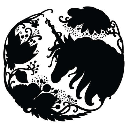 Vector elegant unicorn with long mane in circle composition. Black silhouette template illustration isolated on white background. For print, stickers, design, weather vane, application and tattoo. 向量圖像
