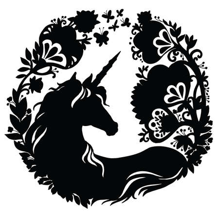 Vector unicorn with magic flowers in circle composition. Black silhouette template illustration isolated on white background. For print, stickers, design, weather vane, application and tattoo. Archivio Fotografico - 154209165