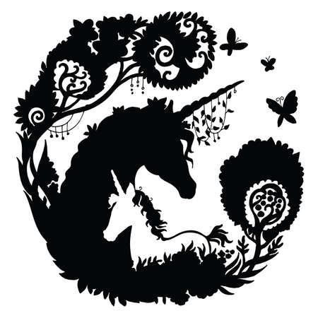 Vector beautiful unicorn and foal with trees and butterfly in circle composition. Black silhouette illustration isolated on white background. For template, print, stickers, design, weather vane, application and tattoo.