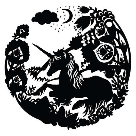 Vector template unicorn with trees and flowers in circle composition. Black silhouette illustration isolated on white background. For print, stickers, design, weather vane, application and tattoo. 向量圖像