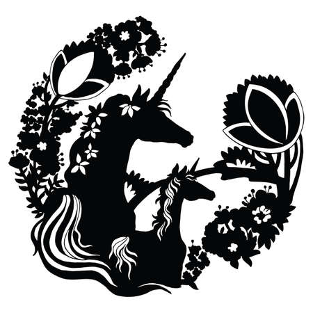 Vector beautiful unicorn and foal with trees and flowers in circle composition.Black silhouette illustration isolated on white background. For template, print, stickers, design, weather vane, application and tattoo. Векторная Иллюстрация
