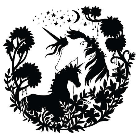 Vector beautiful unicorn and foal with trees and stars in circle composition. Black silhouette illustration isolated on white background. For template, print, stickers, design, weather vane, application and tattoo. Archivio Fotografico - 154209169