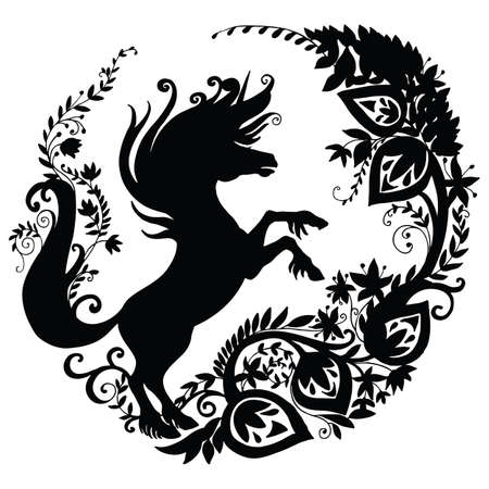 Vector template unicorn with galaxy flowers in circle composition. Black silhouette illustration isolated on white background. For print, stickers, design, weather vane, application and tattoo.
