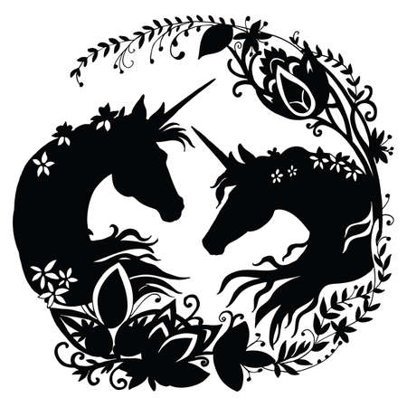Vector unicorn with long mane in circle composition. Black silhouette template illustration isolated on white background. For print, stickers, design, weather vane, application and tattoo. Archivio Fotografico - 154209171