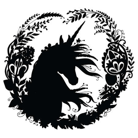 Vector unicorn with long mane in circle composition. Black silhouette template illustration isolated on white background. For print, stickers, design, weather vane, application and tattoo. Archivio Fotografico - 154209172