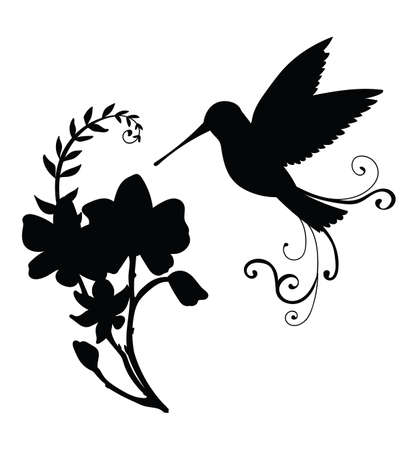 Vector template colibri bird and decorative flowers. Black silhouette illustration isolated on white background. For wedding invitation, design, print, t shirt, home decor, stickers, weather vane, application and tattoo. Ilustración de vector