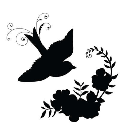 Vector template flying bird and decorative flowers. Black silhouette illustration isolated on white. For wedding invitation, design, print, t shirt, home decor, stickers, weather vane, application and tattoo. Archivio Fotografico - 154835456