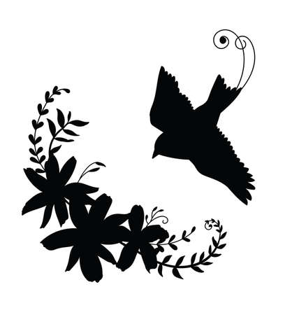 Vector template flying bird and flowers. Black silhouette illustration isolated on white. For wedding invitation, design, print, t shirt, home decor, stickers, weather vane, application and tattoo. Archivio Fotografico - 154835459