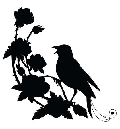 Vector template nightingale bird and flowers. Black silhouette illustration isolated on white. For wedding invitation, design, print, t shirt, home decor, stickers, weather vane, application and tattoo. Vettoriali