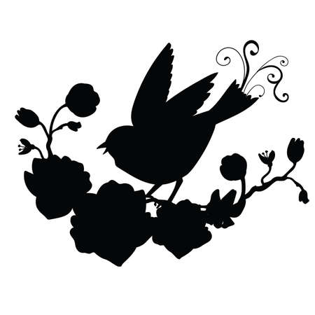 Vector template songbird and flowers. Black silhouette illustration isolated on white. For wedding invitation, design, print, t shirt, home decor, stickers, weather vane, application and tattoo. Archivio Fotografico - 154835461