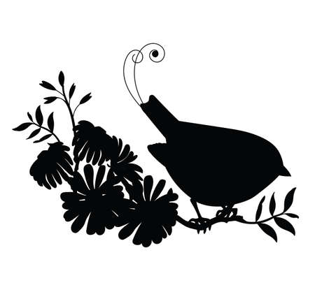 Vector template cute songbird and flowers. Black silhouette illustration isolated on white. For wedding invitation, design, print, t shirt, home decor, stickers, weather vane, application and tattoo. Archivio Fotografico - 154835464