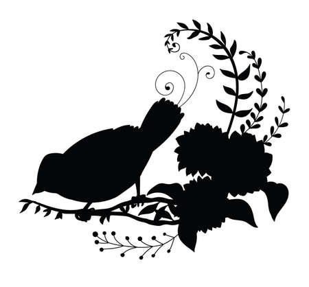 Vector template cute little bird and flowers. Black silhouette illustration isolated on white. For wedding invitation, design, print, t shirt, home decor, stickers, weather vane, application and tattoo. Archivio Fotografico - 154835466