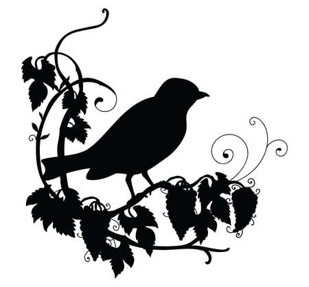 Vector template cute birdie and flowers. Black silhouette illustration isolated on white. For wedding invitation, design, print, t shirt, home decor, stickers, weather vane, application and tattoo.