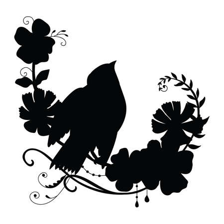 Vector template funny bird and flowers. Black silhouette illustration isolated on white. For wedding invitation, design, print, t shirt, home decor, stickers, weather vane, application and tattoo. Archivio Fotografico - 154835472