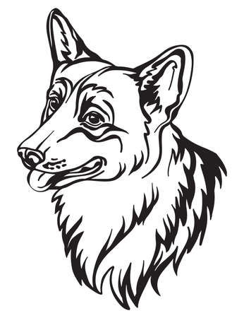 Decorative outline portrait of cute Corgi dog vector illustration in black color isolated on white background. Isolated image for design and tattoo.