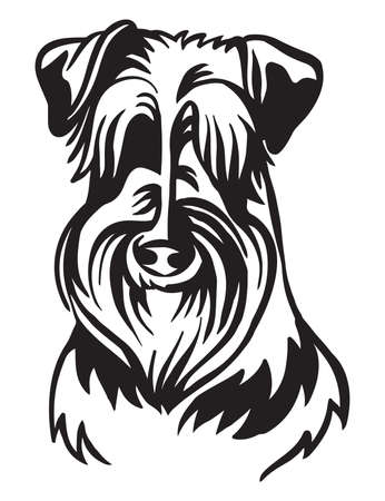 Decorative outline portrait of cute Schnauzer dog vector illustration in black color isolated on white background. Isolated image for design and tattoo. Archivio Fotografico - 154835578