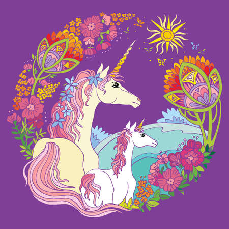 Vector beautiful unicorn and foal with flowers in circle composition. Colorful ornamental illustration isolated on mauve background.For T Shirt, stickers, design and tattoo. Archivio Fotografico - 154835587