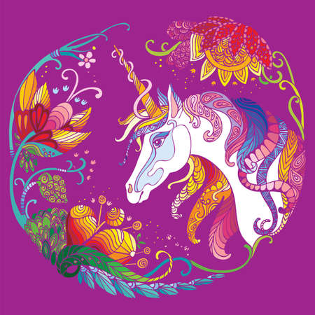 Vector beautiful unicorn with flowers in circle composition. Colorful ornamental illustration isolated on pink background. For T Shirt, stickers, design and tattoo. Vettoriali