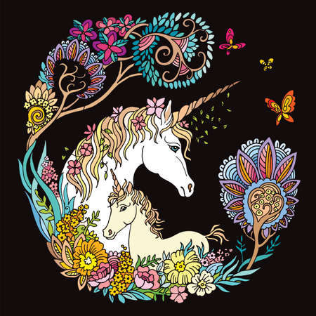 Vector beautiful unicorn and foal with flowers in circle composition. Colorful ornamental illustration isolated on black background.For T Shirt, stickers, design and tattoo.