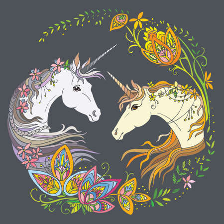 Vector beautiful unicorns with flowers in circle composition. Colorful ornamental illustration isolated on gray background. For T Shirt, stickers, design and tattoo. Archivio Fotografico - 154835592