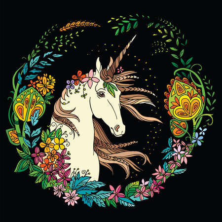 Vector beautiful unicorn with flowers in circle composition. Colorful ornamental illustration isolated on black background. For T Shirt, stickers, design and tattoo. Vettoriali