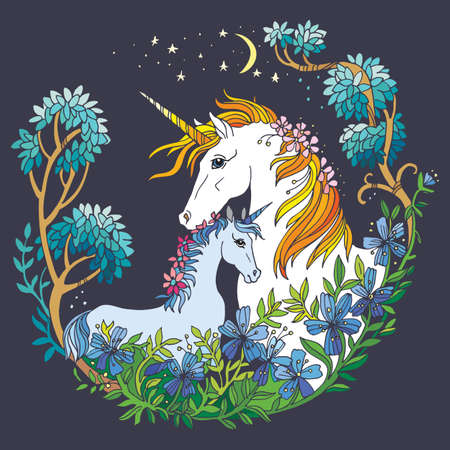 Vector beautiful unicorn and foal with flowers in circle composition. Colorful ornamental illustration isolated on gray background. For T Shirt, stickers, design and tattoo. Vettoriali