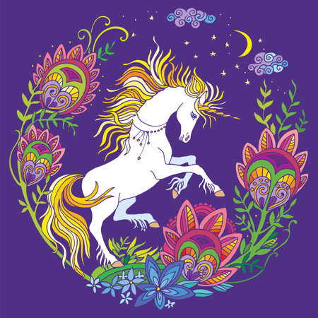 Vector beautiful standing unicorn with flowers in circle composition. Colorful ornamental illustration isolated on purple background. For T Shirt, stickers, design and tattoo. Archivio Fotografico - 154835599