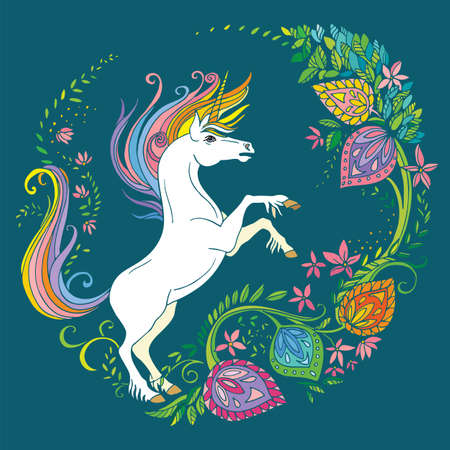 Vector beautiful standing unicorn with flowers in circle composition. Colorful ornamental illustration isolated on turquoise background. For T Shirt, stickers, design and tattoo.