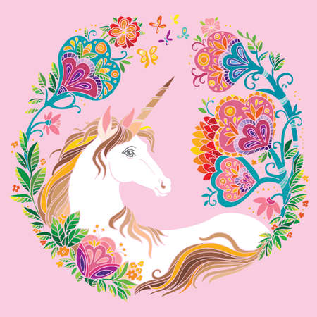 Vector beauty unicorn with flowers in circle composition. Colorful ornamental illustration isolated on pink background. For T Shirt, stickers, design and tattoo. Archivio Fotografico - 154835604