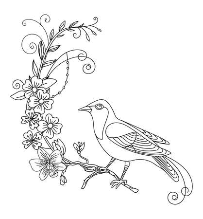 Vector line art bird and abstract flowers. Black contour illustration isolated on white. Vector hand drawn monochrome template for coloring book, wedding invitation, design, print, t shirt, home decor. Archivio Fotografico - 154772581