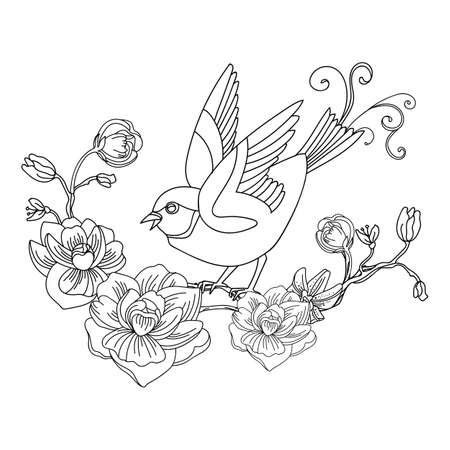 Black contour bird and flowers. Vector line art abstract illustration isolated on white. Vector hand drawn monochrome template for coloring book, wedding invitation, design, print, t shirt, home decor. Archivio Fotografico - 154771924