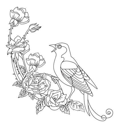 Black contour bird and flowers. Vector line art decorative illustration isolated on white. Vector hand drawn monochrome template for coloring book, wedding invitation, design, print, t shirt, home decor.